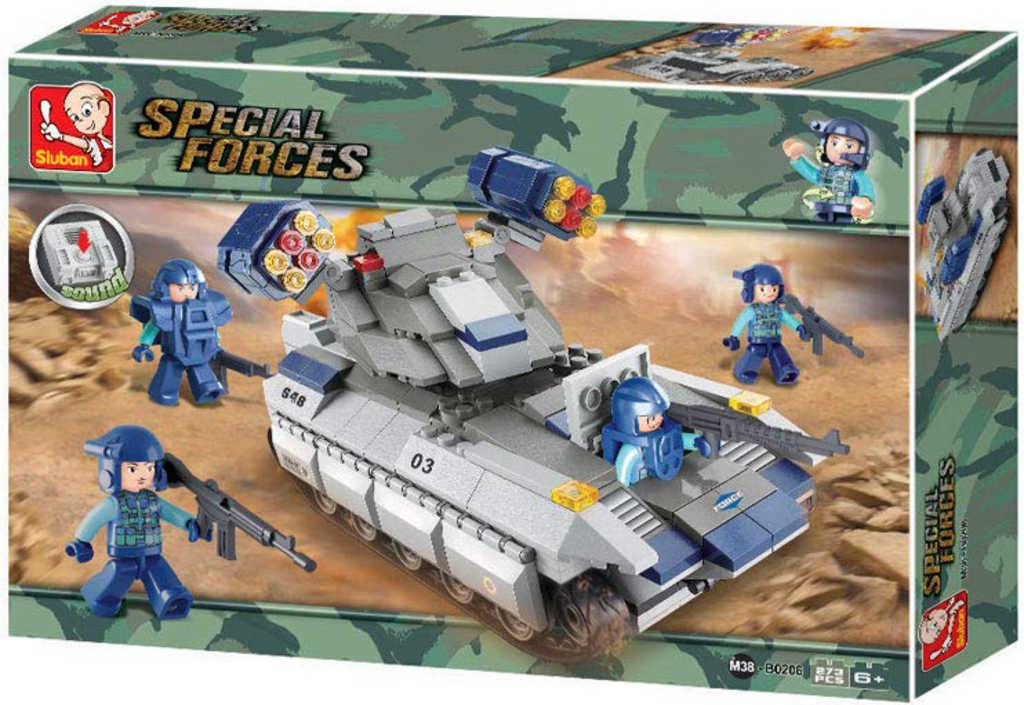 SLUBAN Stavebnice SPECIAL FORCES Tank 273 dílků + 4 figurky na baterie Zvuk