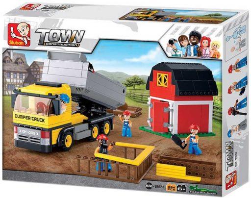SLUBAN Stavebnice TOWN Nákladní auto se stodolou set 384 dílků + 4 figurky