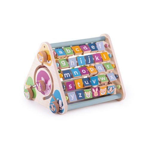 Bigjigs Toys trojboký aktivní hranol počty a abeceda se zvířátky