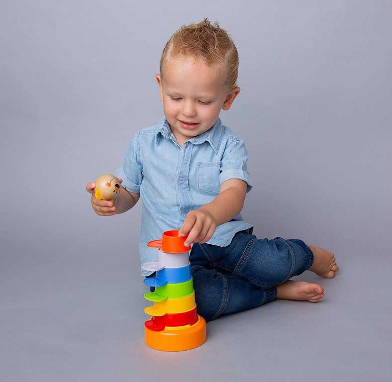 BINO Baby Věž barevná bábovičky stohovací 2v1 pro miminko
