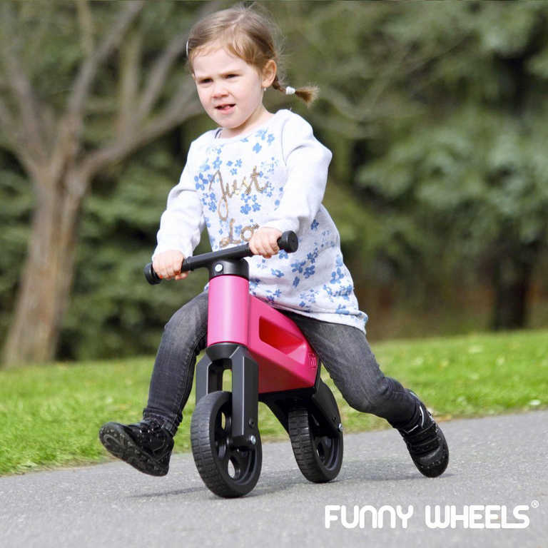 Dětské odrážedlo Funny Wheels 2v1 odstrkovadlo tříkolka / 2 kola ČERVENÉ plast