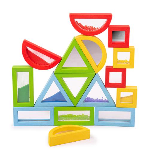 Bigjigs Toys Barevné tvary senzorické duhové