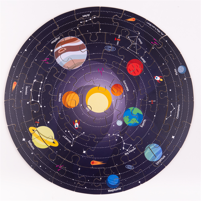Bigjigs Toys Kulaté podlahové puzzle Sluneční soustava 50 dílků