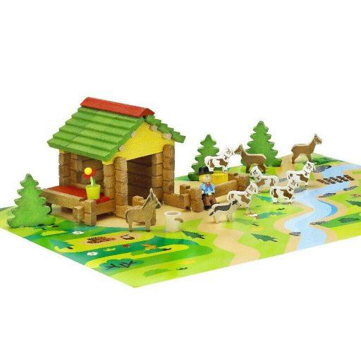 Jeujura Dřevěná stavebnice 65 dílků Horská bouda