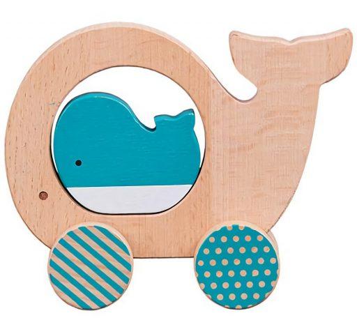 Petit Collage Velryba a mládě na kolečkách
