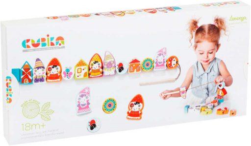 CUBIKA DŘEVO Baby Trpaslíci navlékací set 12 dílků provlékačka pro miminko