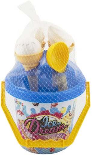 Sada na písek kyblík s formičkami zmrzlina 9ks 2 barvy v síťce