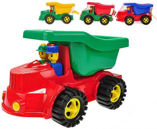 Auto barevné nákladní sklápěčka 35cm set se 2 panáčky na písek plast