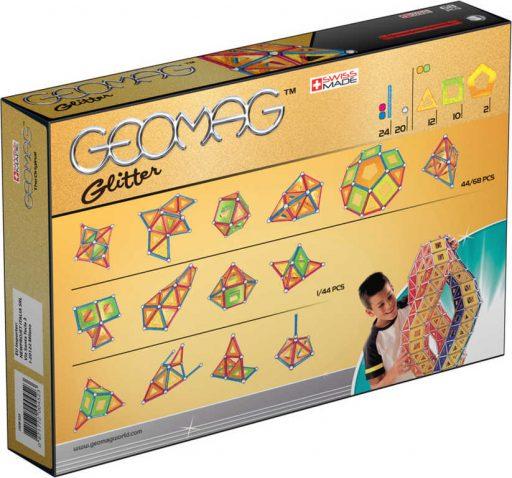 GEOMAG Glitter 68 dílků třpytivá magnetická STAVEBNICE