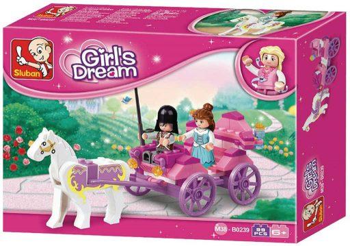 SLUBAN Stavebnice GIRLS Kočár pro princeznu set 99 dílků + figurka 3ks plast