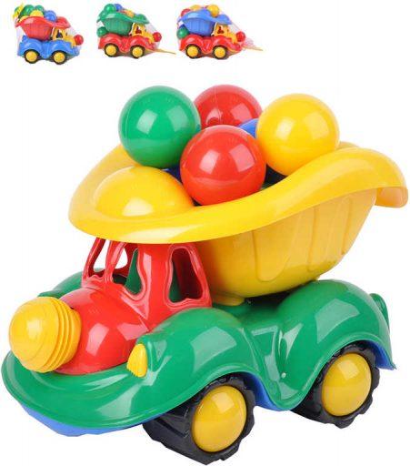 Auto barevné nákladní sklápěčka 34cm set se soft míčky s klaksonem klaun 4 barvy