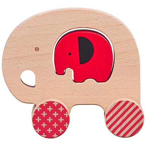 Petit Collage Slon a slůně na kolečkách