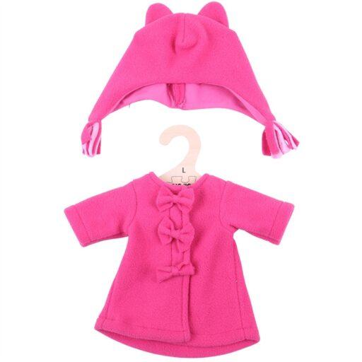 Bigjigs Toys Červený kabátek s čepičkou pro panenku 38 cm