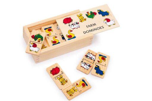 Small Foot Dřevěné hry Domino farma menší