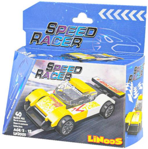 LiNooS Auto sportovní volný chod 40 dílků plast STAVEBNICE