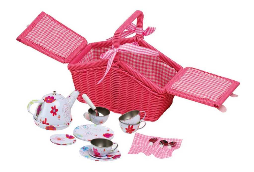 Small Foot Piknikový růžový koš s nádobíčkem