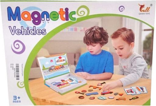 Stavebnice magnetická dopravní prostředky set 57 dílků v krabici