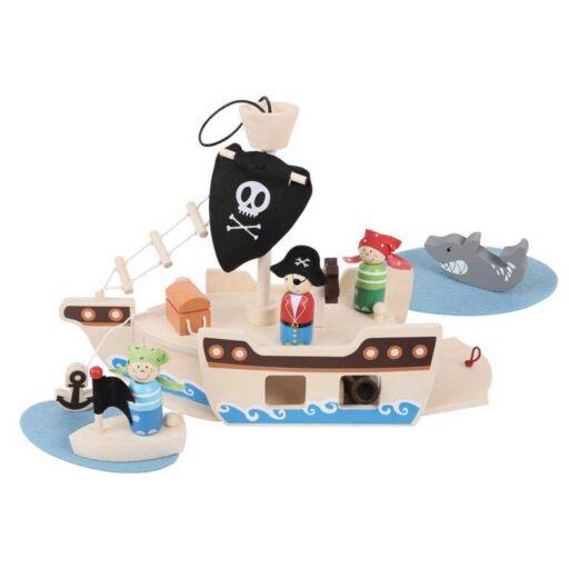 Bigjigs Toys Pirátská loď s piráty
