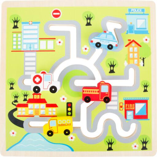 Small Foot Dřevěné posuvné puzzle Město