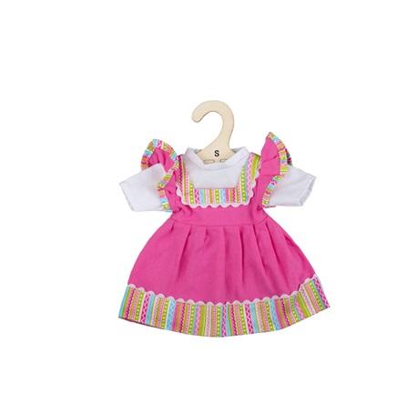 Bigjigs Toys Růžové šaty s pruhovaným lemováním pro panenku 28 cm