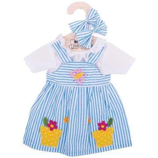 Bigjigs Toys Modré pruhované šaty pro panenku 38 cm
