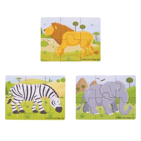 Bigjigs Toys puzzle 3v1 safari zvířátka