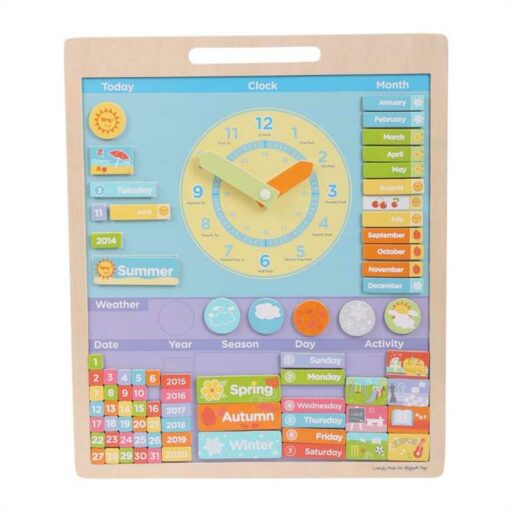 Bigjigs Toys Anglický magnetický kalendář s hodinami