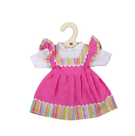 Bigjigs Toys Růžové šaty s pruhovaným lemováním pro panenku 34 cm