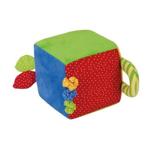 Bigjigs Baby Textilní aktivní kostka