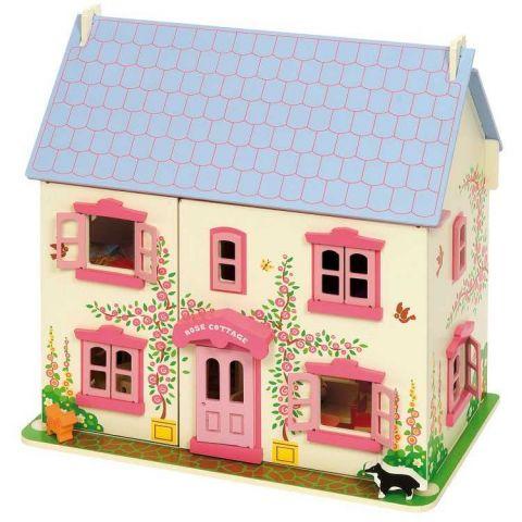 Bigjigs Toys Růžový domek pro panenky sleva