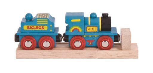 Bigjigs Rail Modrá mašinka s tendrem + 2 koleje