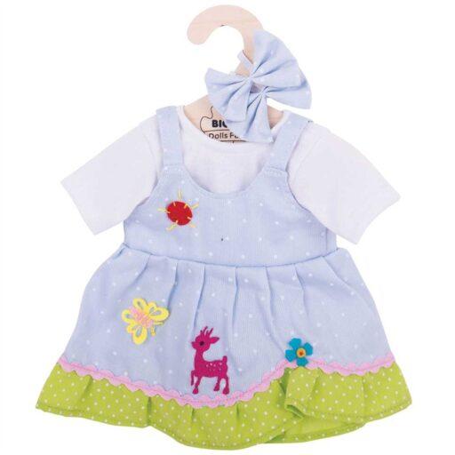 Bigjigs Toys Modré puntikované šaty s jelenem pro panenku 38 cm