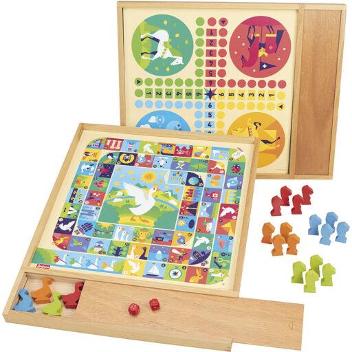 Jeujura Tradiční hry 2v1 v dřevěném boxu s pouzdrem