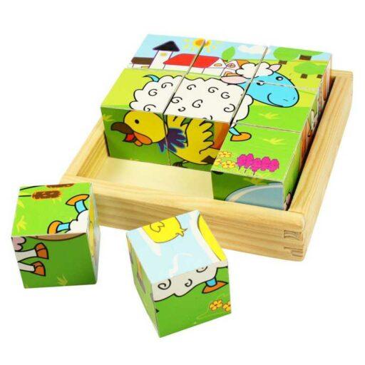 Bigjigs Toys Obrázkové kostky kubusy Zvířátka 9 kostek