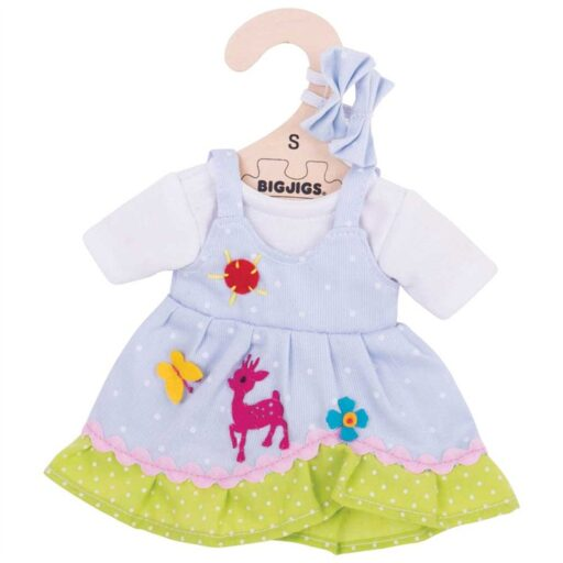Bigjigs Toys Modré puntikované šaty s jelenem pro panenku 28 cm