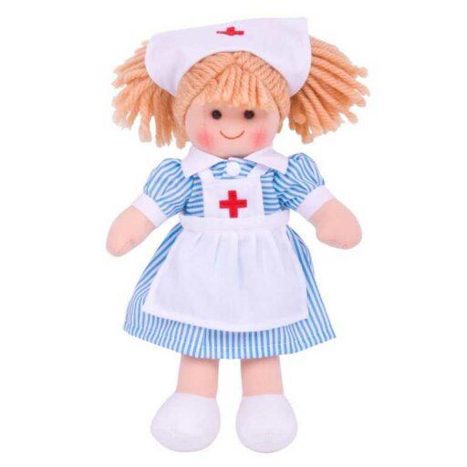 Bigjigs Toys Látková panenka zdravotní sestřička Nancy 28 cm