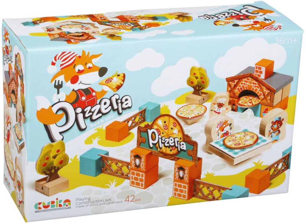 CUBIKA DŘEVO Pizzeria 30 dílků s kartonovými doplňky STAVEBNICE