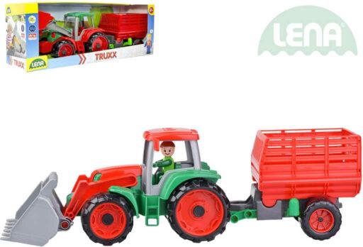 LENA Truxx Traktor nakladač set s přívěsem na seno a panáčkem v krabici