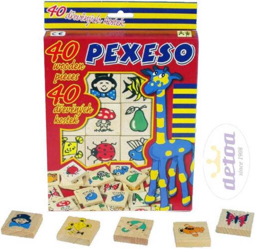 DETOA DŘEVO Pexeso set 40 dílků 4x4cm v krabičce s obrázky